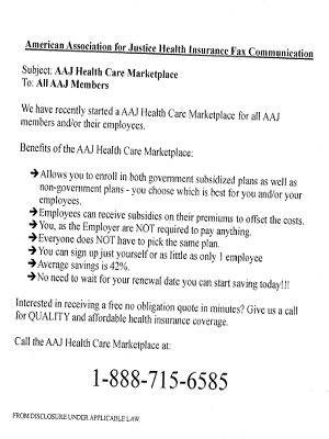 The fax that led to Timothy Blake's lawsuit against the AAJ