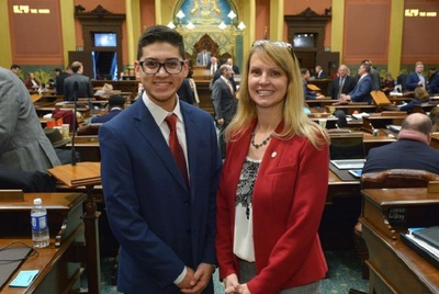 Michigan State Rep. Julie Calley (R-Portland) with Miguel, a student who recently shadowed her.