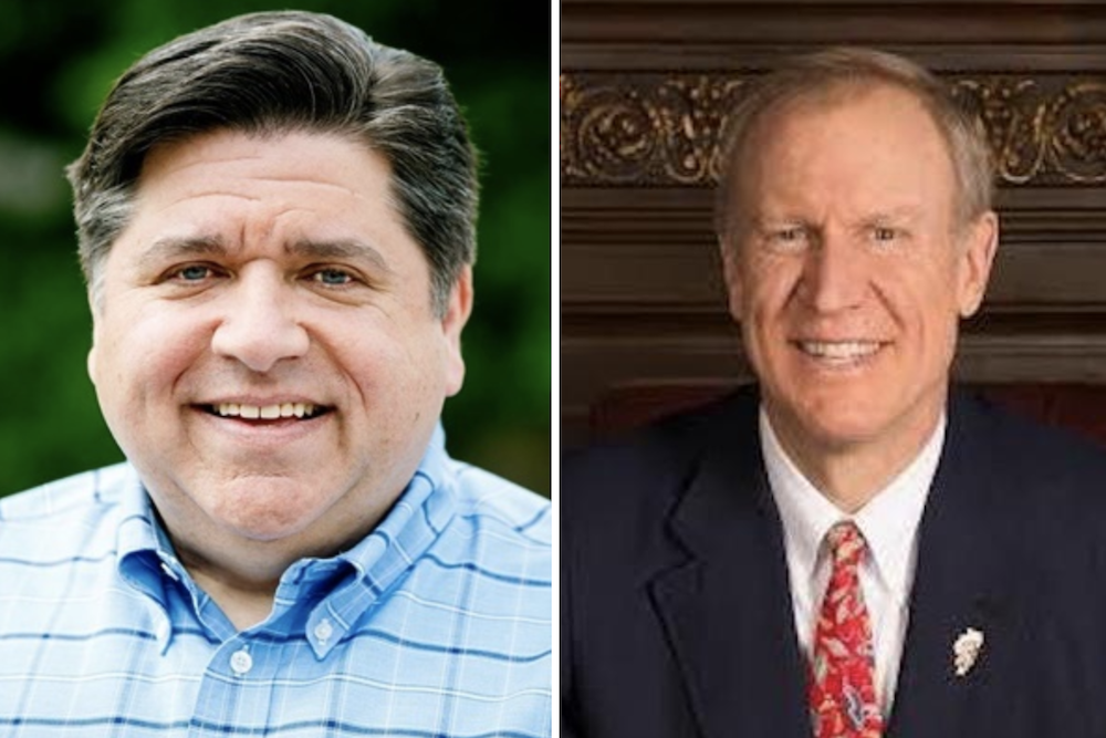J.B. Pritzker, left, and Bruce Rauner