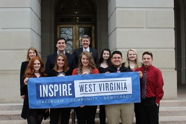 Pictured (from left to right) Row 1: Rachel Dorsey, Hannah Grim,, Hannah Caldwell, Ozan Ozbeker, and Brad Bordelon. Row 2: Bethany Winters, Andrew Willis, Secretary of State Mac Warner, Erin Dodd, and Madison Settle.