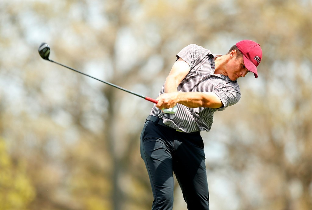 Sam Meek of the SIU men's golf team takes a swing during a tournament earlier this year.