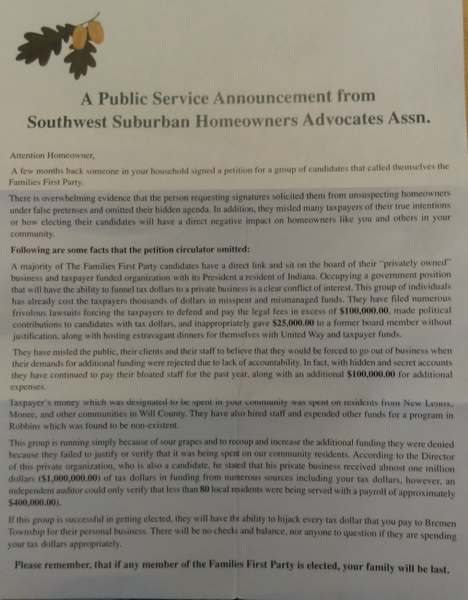 This anonymous letter backing Maggie Crotty for Bremen Township Supervisor arrived in thousands of mailboxes. It claims to have been sent by a group that doesn't apparently exist.