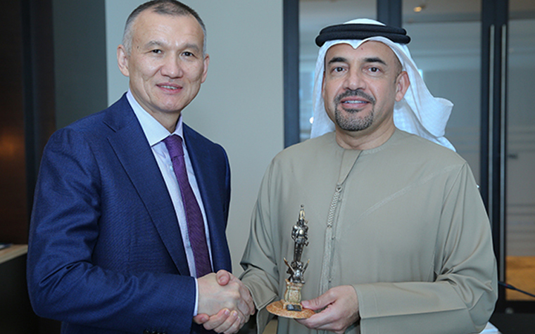 Kazakhstan Minister of Justice Berik Imashev (left) meets with Dubai International Arbitration Center Chairman Habib Al Mulla.