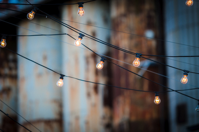 Depending on type and environment, stringed lights can pull off a very rustic or modern look.