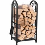 Juvale Firewood Rack with 4 Fireplace Tools