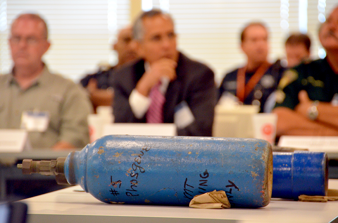 Chemical storage tanks provided a visual aid during an FBI-led exercise in Houston designed to test emergency responders in the event of a chemical attack.