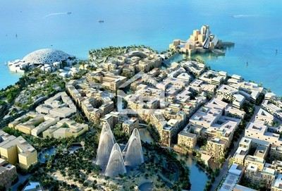 An aerial view of the Soho Square area on Saadiyat Island