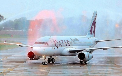 A water shower celebrates Qatar Airways' maiden flight into Multan, Pakistan.