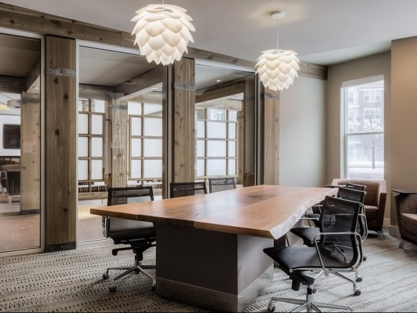 The Vue's business center includes an eight-seat conference room for residents who work from home or seek a professional location to meet their clients.