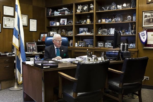 Alderman Edward M. Burke at his desk in his 14th Ward office, photographed in 2012 as part of the 50 Aldermen/50 Artists project.