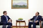 Ambassador of Estonia to Armenia Priit Turk, left, met with  Armenian Prime Minister Hovik Abrahamyan on Tuesday.