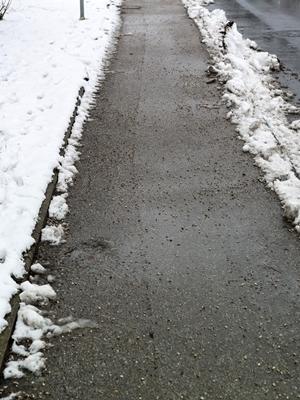 Large snowy sidewalk