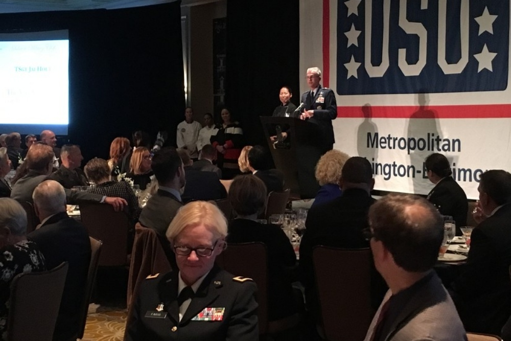 Air Force Gen. Paul Selva, vice chairman of the Joint Chiefs of Staff, talks about the importance of enlisted aides during the USO Metro's 21st Annual Salute to Military Chefs and Enlisted Aides in Arlington, Va.