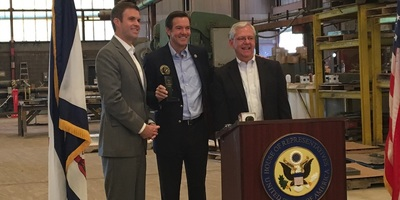 U.S. Rep. Evan Jenkins (center) receives the Spirit of Enterprise Award on June 1 at Huntington Steel & Supply from U.S. Chamber of Commerce Senior Vice President Rob Engstrom (left) and West Virginia Chamber President Steve Roberts.