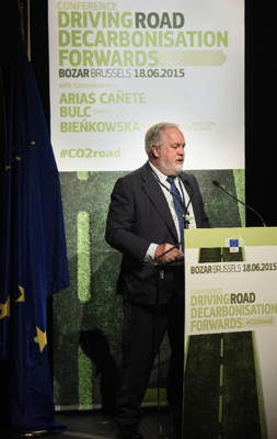 Miguel Canete speaks at the earlier Conference on Driving Decarbonization of Road Transport on June 18.