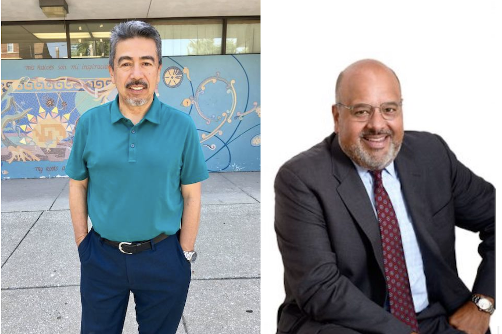Ald. Danny Solis, left, and Victor Reyes