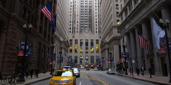 Large chicago board of trade building