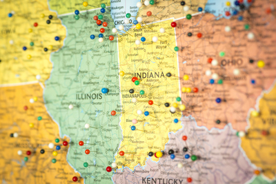 Medium shutterstock map midwestern states pins