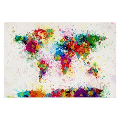 Michael Thompsett Paint Splashes World Map Canvas Art