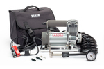 This portable air compressor easily hooks up to a car battery for use in remote locations.