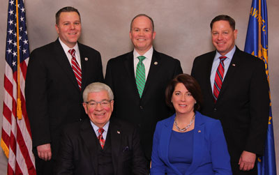 The Delaware County Council, pictured back row from left Michael Culp, John McBlain and David White and front row from left: Chairman Mario Civera and Vice Chairwoman Colleen Morrone will give the state of county address on March 12.