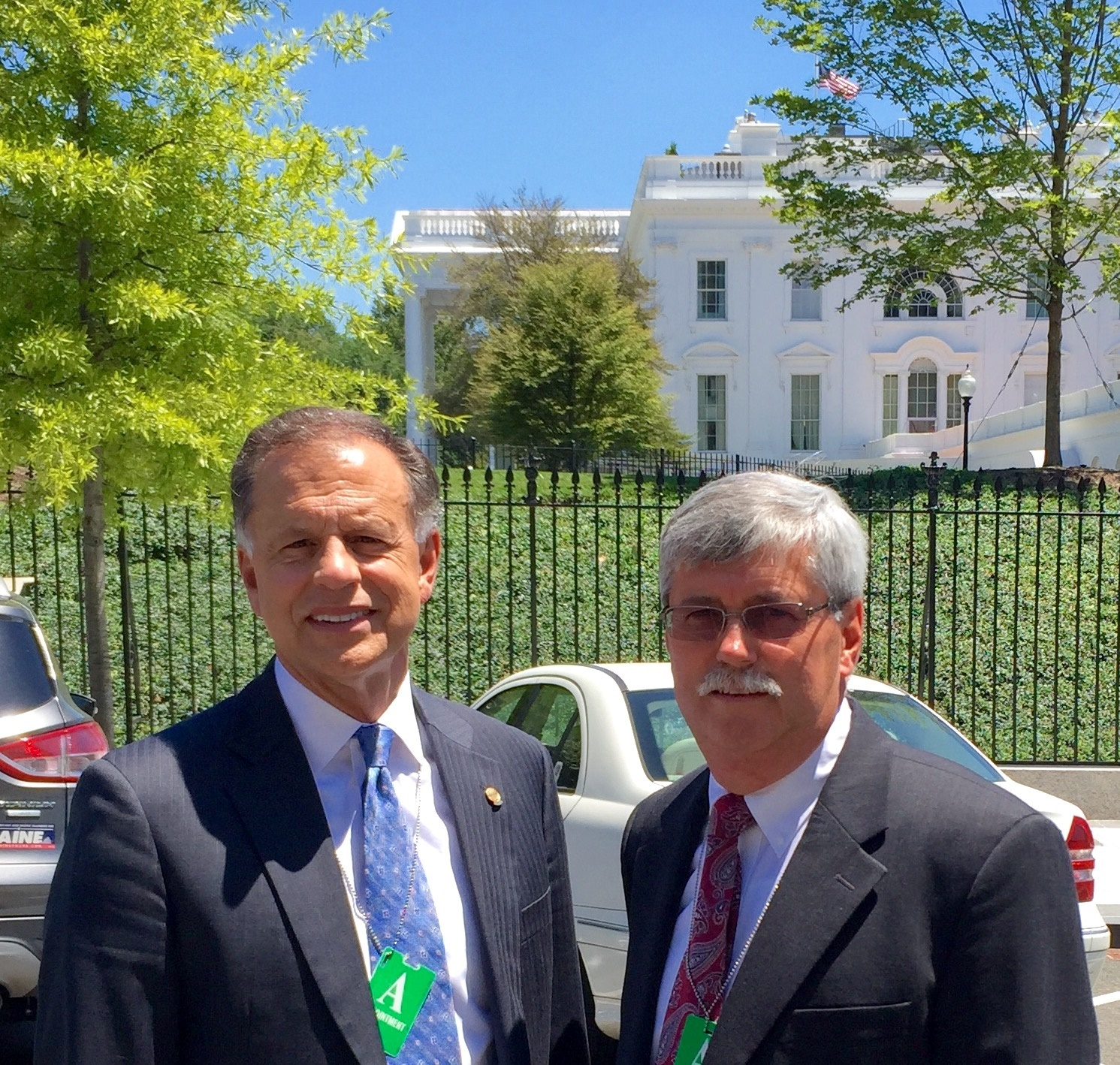 Gary Stooksbury, CEO of Aiken Electric Cooperative and Dwayne Cartwright, CEO of Berkeley Electric, outside of the White House after their meeting with the White House Rural Council and the USDA's Rural Utilities Service.