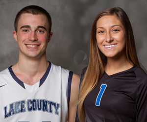 Lake County basketball player Daniel (D.J.) Ostrander and volleyball player Hannah Cassiday