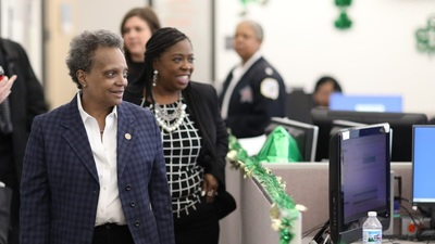 Chicago Mayor Lori Lightfoot touring the city's 311 service call center office earlier this week