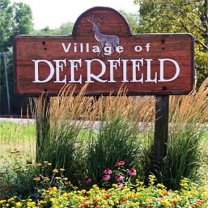 Village of deerfield grassy sign