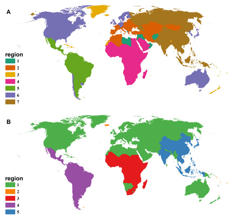 Maps reflecting vectored human diseases (top) and non-vectored human diseases (bottom)