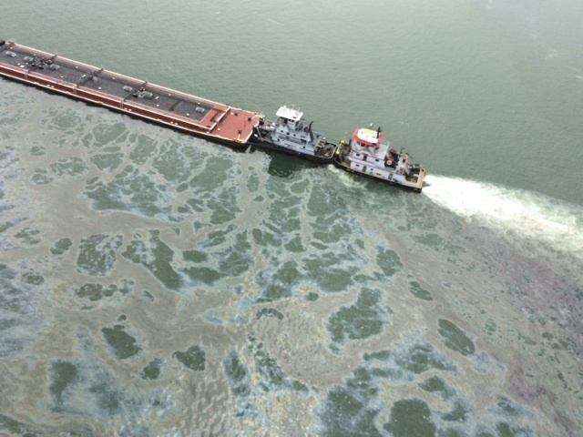 Ship channel spill barge