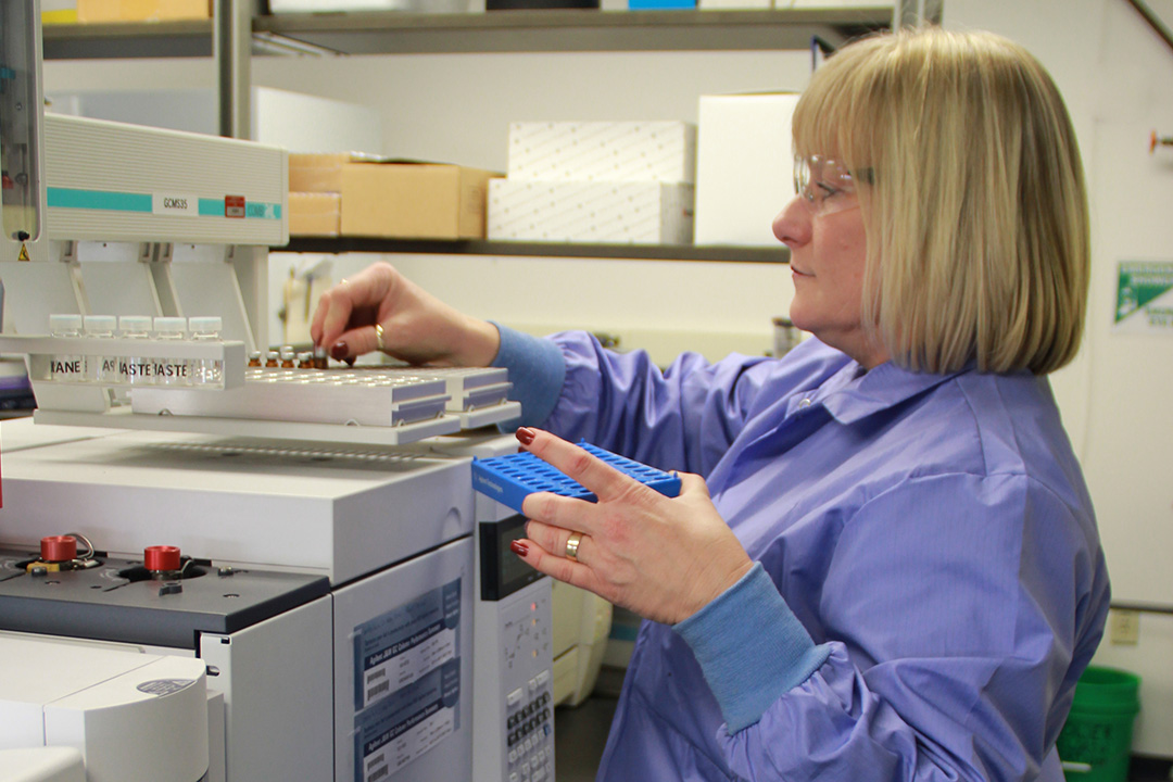 ECBC physical scientist Nancy Pusey develops standards for agent compounds.