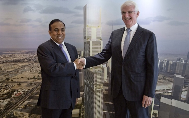 RP Group Chairman Ravi Pillai (left) and Jumierah CEO Gerald Lawless  at a ceremony held at the Jumeirah Group's flagship property, the Burj Al Arab Jumeirah