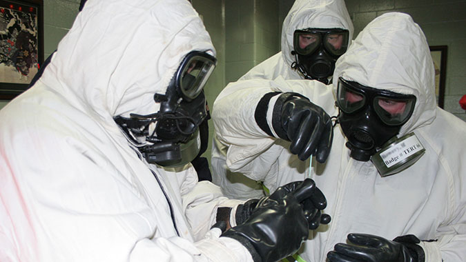 Students at the Chemical Ordinance Biological Radiological facility receive hands-on training.