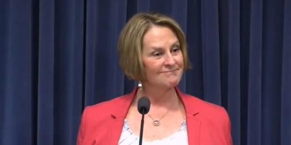 Senate Minority Leader Christine Radogno announcing her resignation.