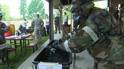 Decontamination exercises begin at Osan Air Base.