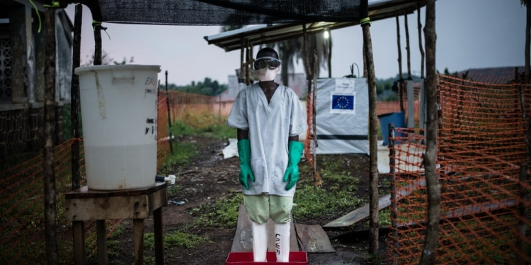 An MSF staff member at the Boende Ebola treatment center in the Congo