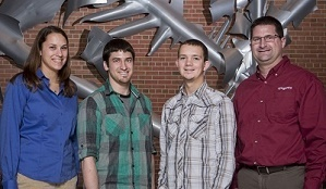 Michigan State University graduate student Mitch Roth (second from left) and undergraduate student Logan Crumbaugh (second from right) pose with Erin Koglin (far left) and Brian Devine of Syngenta.