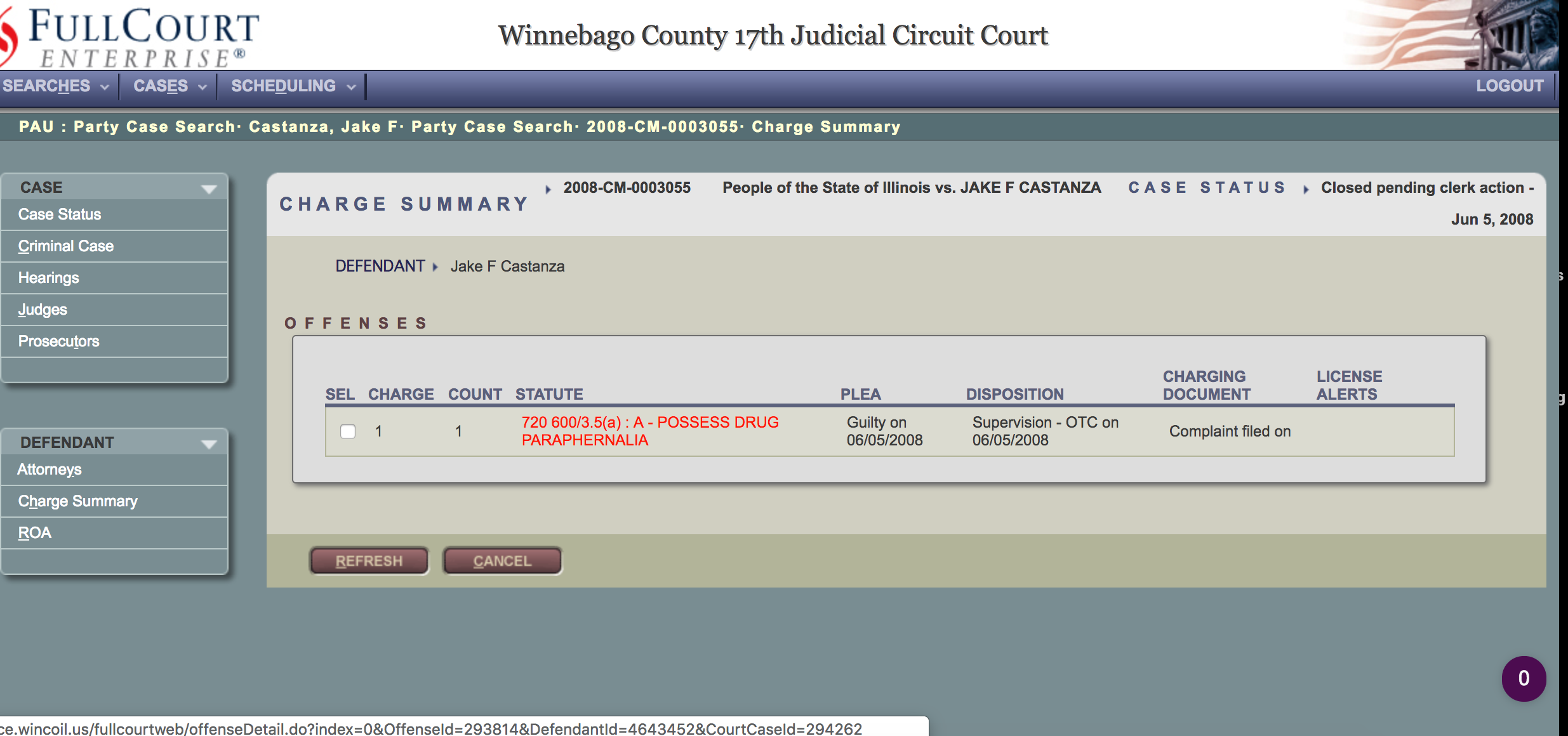 28 year-old Jake Castanza says he was never arrested for possession of drug paraphernalia. But Winnebago County court records say otherwise.