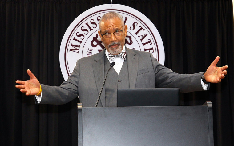 Mission Mississippi President Neddie Winters addressed a crowd of 1,000 at Mississippi State.