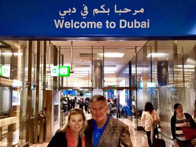 University of Texas Football Coach Mack Brown arrives in the United Arab Emirates.