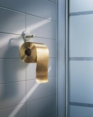 If you're rolling in dough, you can afford gold-flaked toilet paper.