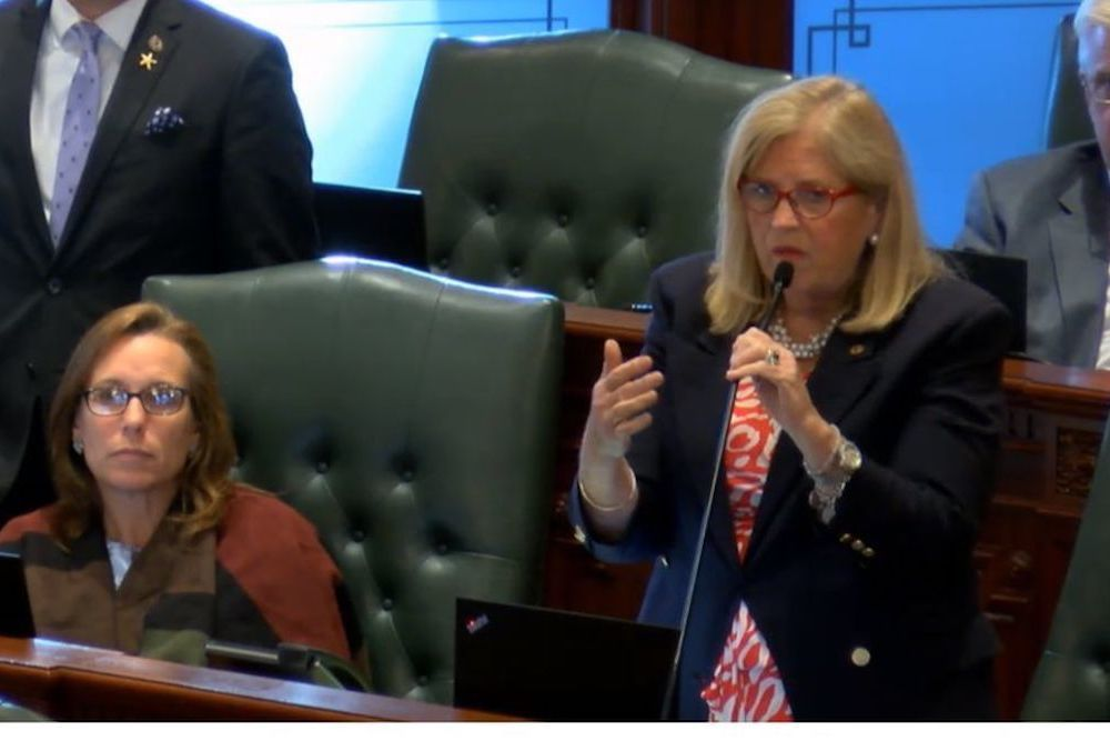 Rep. Patricia Bellock (R-Hinsdale) questions SB2662 at the May 28 House floor debate.