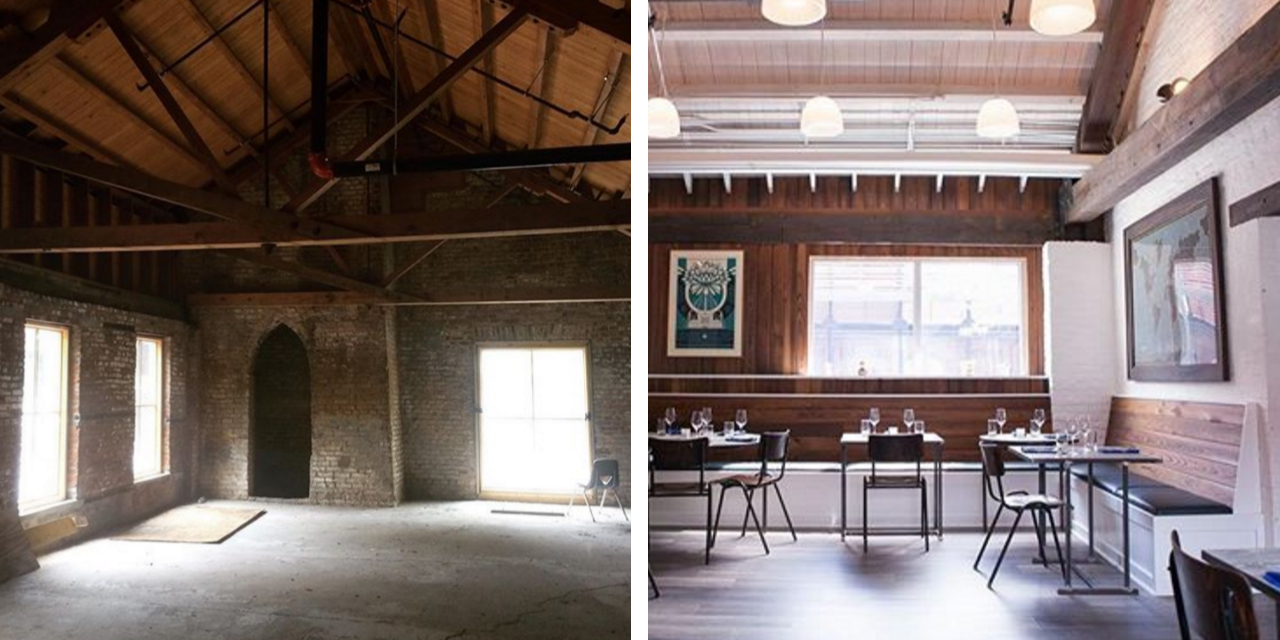 On the left, a picture of the building at 23 Ann Street in Charleston, shortly after it was purchased by chef Damon Wise and business partner Jonathan Buckley. On the right, and interior shot of the Feathertop Cafe.