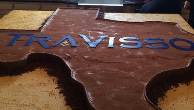 "Now that's a Texas-sized Tiramisu! This one was from our grand opening; come visit Travisso this weekend, and see and taste our heart-shaped Valentine's version for yourself – as well as browse new model homes, and take advantage of ""Beyond Big"" savings a"
