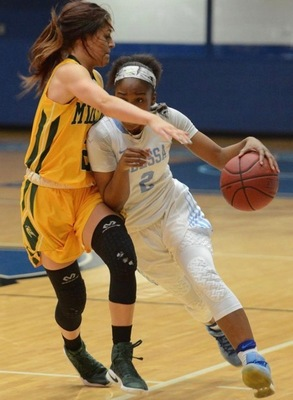 Mariah McCully drives to the hoop last season in a game for Odessa College.