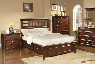 This bed from the Del Mar Collection effectively adds an extra shelving unit to a bedroom suite.