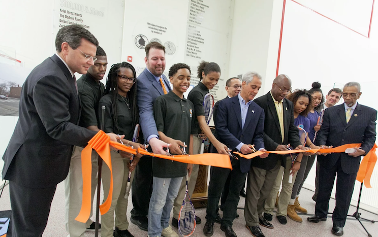 Mayor Rahm Emanuel, U.S. Rep. Bobby Rush and other leaders help open METROSquash's new facility in April 2015