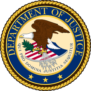 Large justice department logo