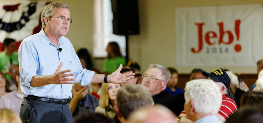 Bush speaks to voters in Hudson, New Hampshire on July 8, 2015.
